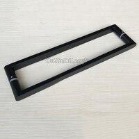 高品質 2 ピース 304 ステンレス鋼フレームレスシャワーガラスドアハンドルプル/プッシュハンドルダム黒