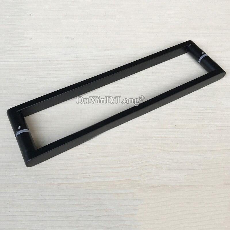 High Quality 2PCS 304 Stainless Steel Frameless Shower Glass Door Handles Pull / Push Handles Dumb Black цена и фото