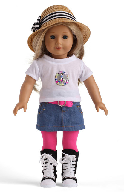 american girl doll clothes of white shirt jeans skirt belt and