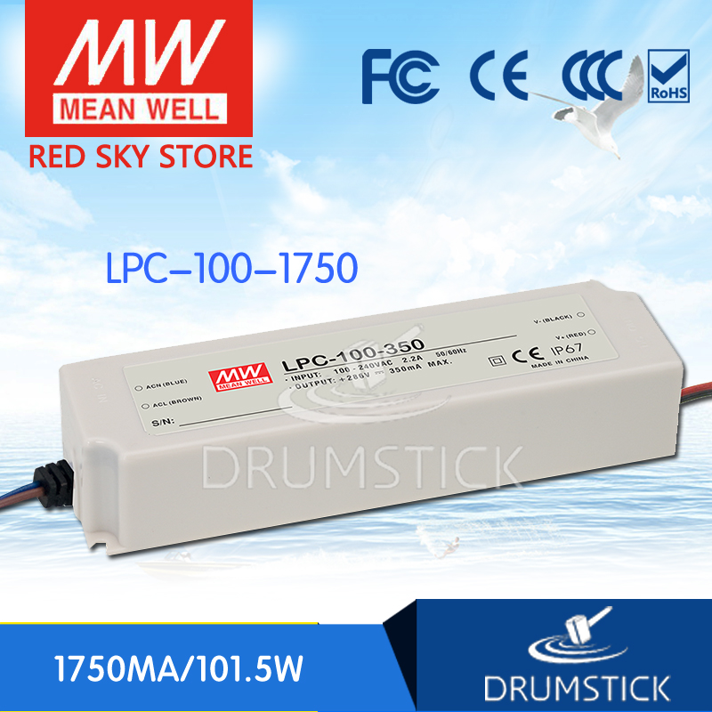 100% Original MEAN WELL LPC-100-1750 58V 1750mA meanwell LPC-100 58V 101.5W Single Output LED Switching Power Supply 100