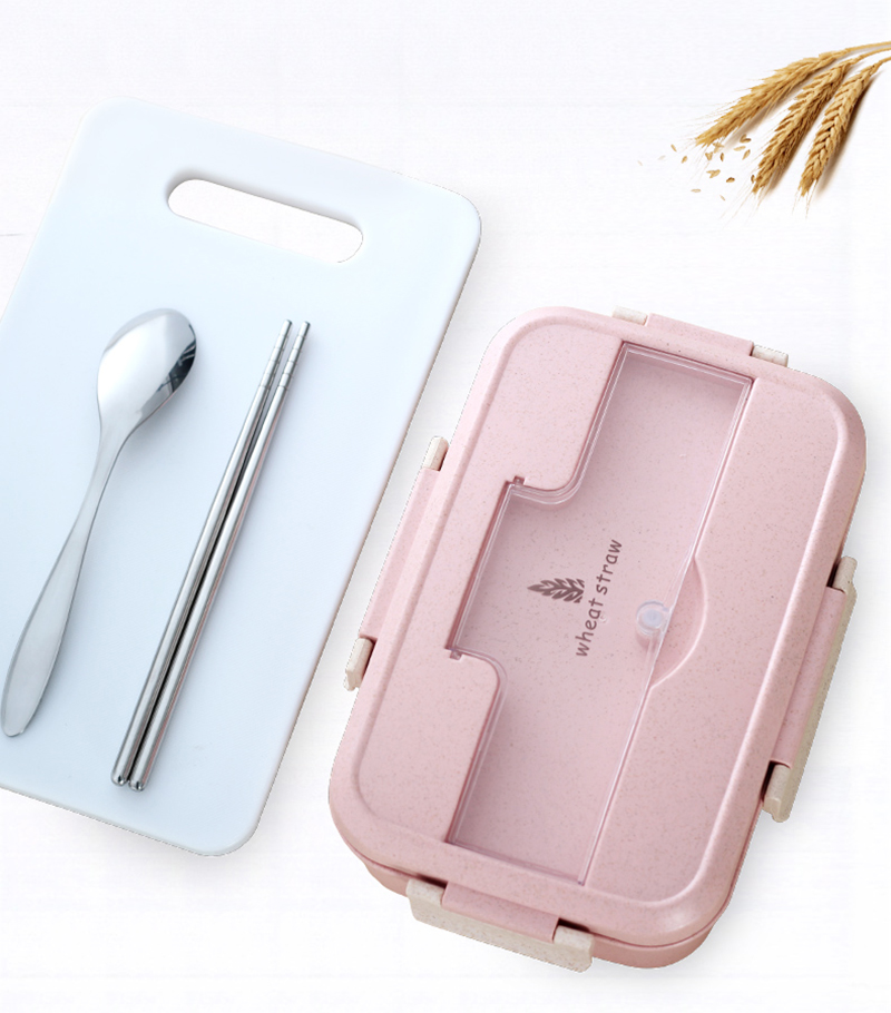 TUUTH Microwave Lunch Box Wheat Straw Dinnerware Food Storage Container Children Kids School Office Portable Bento Box B2