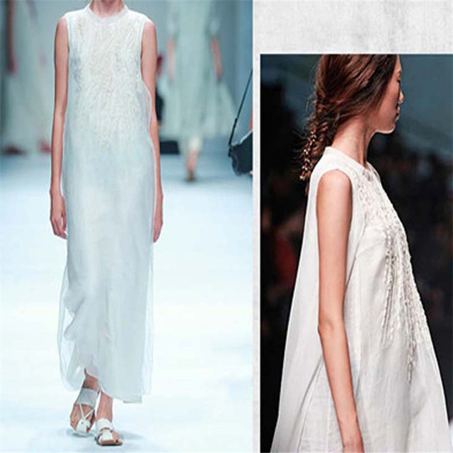 bbcebbf6ee91e Women Long Dress Summer White Round Neck Cotton Linen Casual Sleeveless  Embroidery Linen Maxi Dress Lady Party Clothing Loose