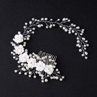 Wedding Bridal Hair Accessories Crystal Flowers Imitation Pearl Hair Comb/Pin for Women Girl M8694