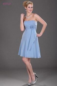 Sky Blue Cheap Bridesmaid Dresses Under 50 A-line Strapless Chiffon Knee Length Backless Wedding Party Dresses