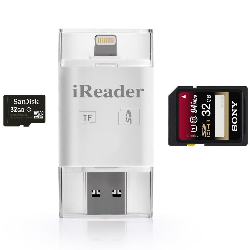 Newest! 3 in 1 i Flash Drive USB Micro SD SDHC TF OTG Card Reader Adapter for iPhone 5/5s/6/6 plus/ipad/Samsung OTG Phones