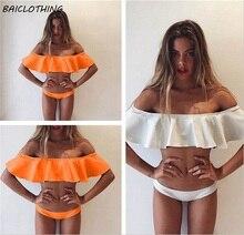 BAICLOTHING 2017 summer off shoulder top strapless sexy bikinis set women boob tube top swimwear swimsuit bathing suit girls
