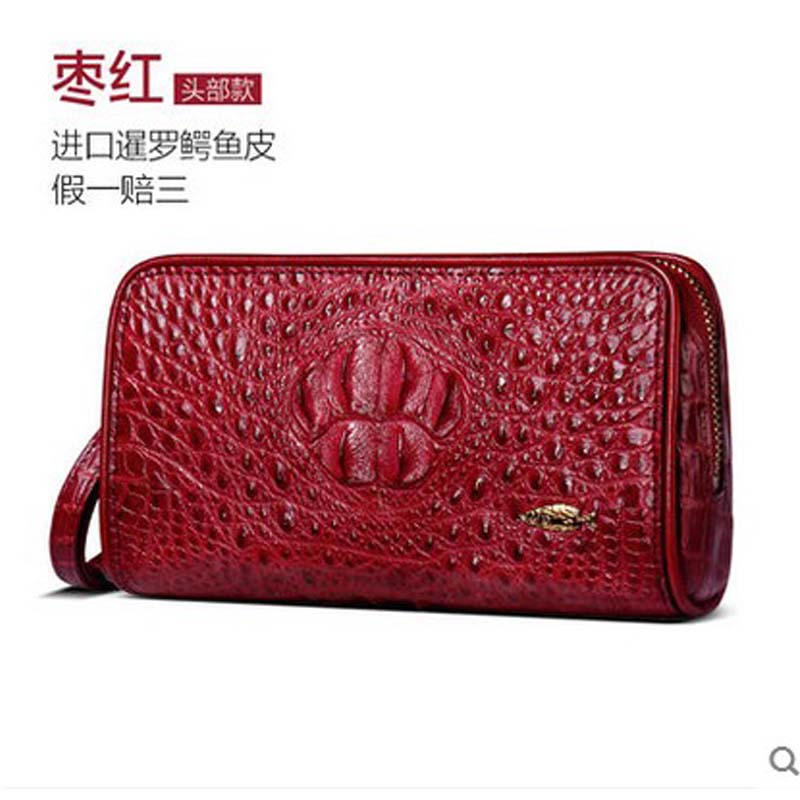 yuanyu 2018 new crocodile skin purse real leather Thai crocodile handbag female real crocodile handbag with bag lady new head layer cowhide purse female butterfly skin carving bag long wallet retro handbag leather lady purse