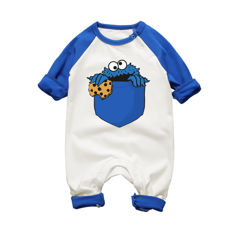 COOKIE MONSTER Funny Printing Baby Romper Long Sleeve Cotton Clothing Toddler Baby Boy Cartoon Jumpsuit Clothes