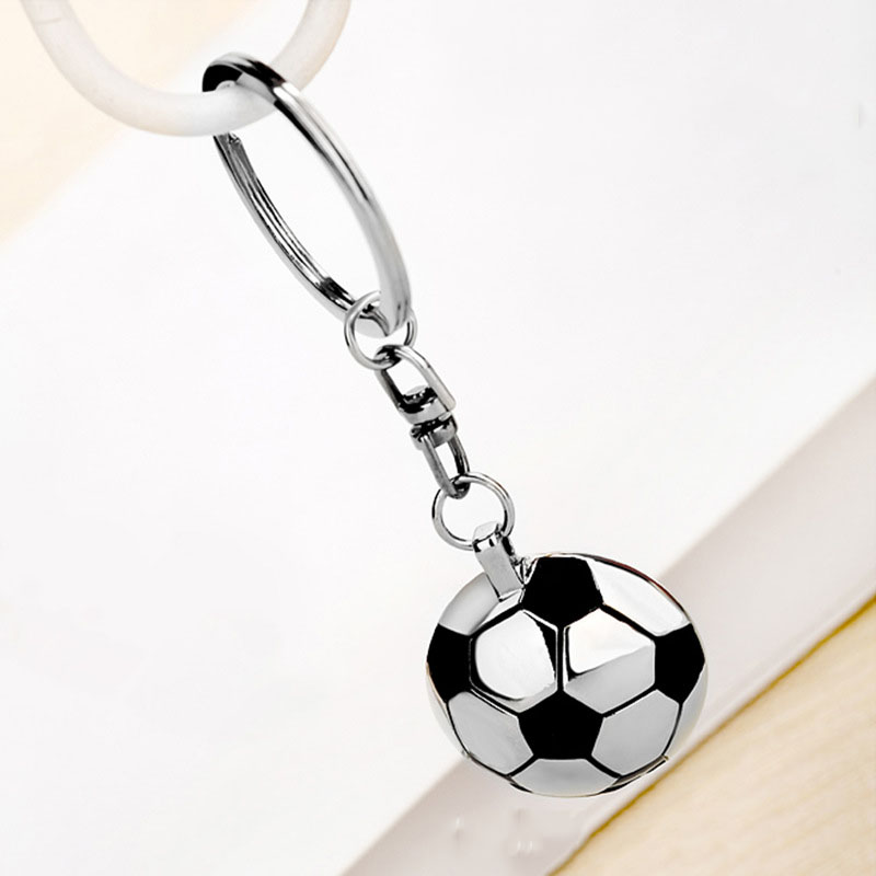 Football Key Ring Semi-Circular Shaped With Back Mirror Keychain Pendant Decoration Soccer Team Sport Fans Kids Festival Gifts