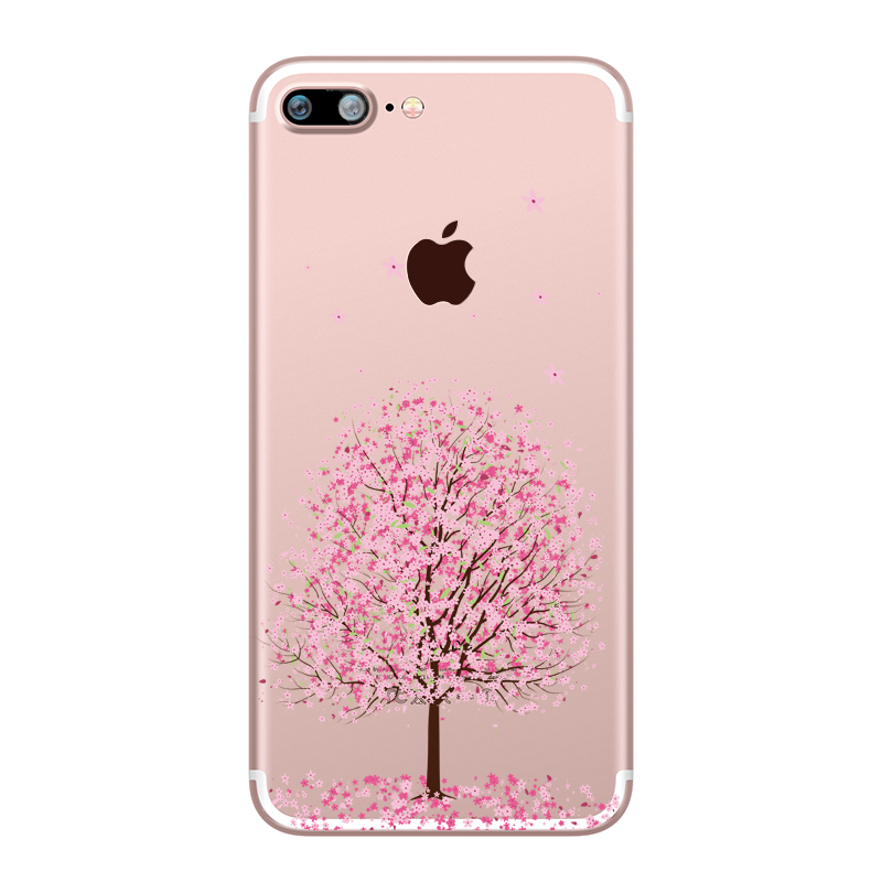 Flower Love Cherry Blossoms Rose Flowers for iphone 7 6 X 6S 8 PLUS SE 5S 7plus Silicon Clear TPU Transparent Capinha Case Funda (11)