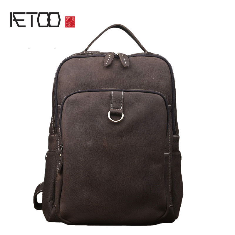 AETOO New crazy horse backpack men fashion trend leather shoulder bag female of the leather travel bag aetoo retro leatherbackpack bag male backpack fashion trend new leather travel bag