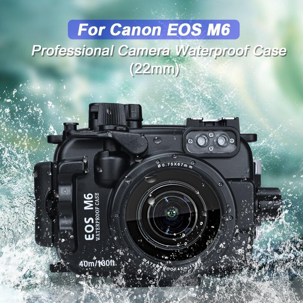 40M 130ft boîtier sous-marin étanche boîtier de plongée pour Canon EOS M5 M6 caméra avec objectif 22mm 18-55mm