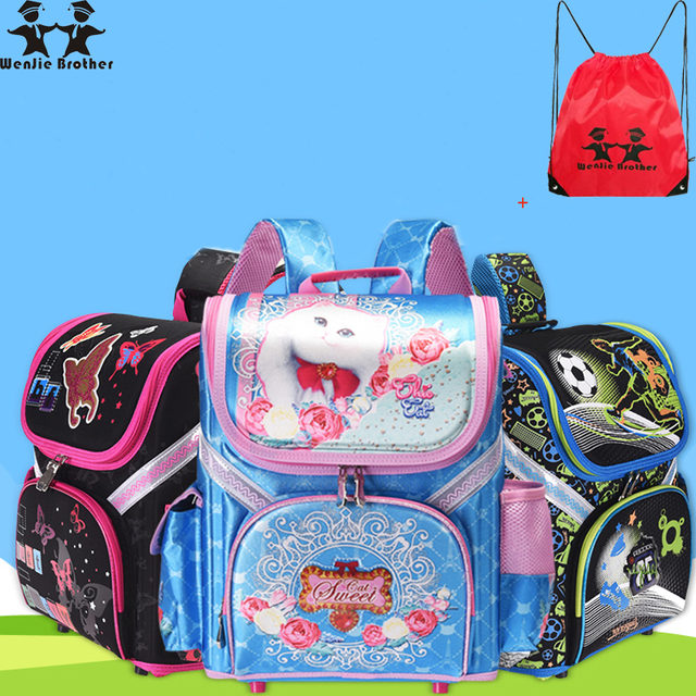 e95251f6e165 Wenjie brother 2018 New Kids cat butterfly School bag EVA Folded Orthopedic  Children boy and girls
