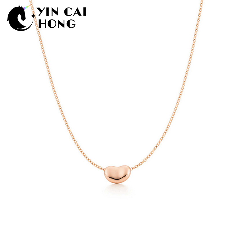100% QualitäT Ych Charme Geschenk 925 Sterling Silber Rose Gold Bohnen Tiff Attraktive Eleganz Temperament Halskette Schmuck Welt