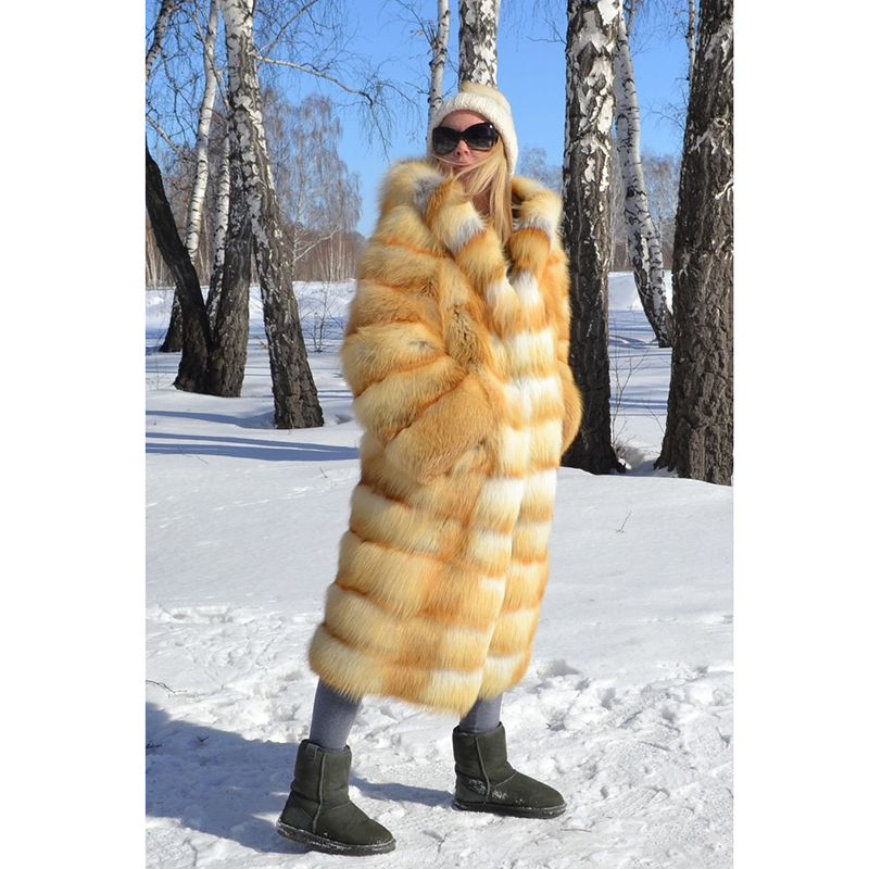 TOPFUR Natural Gold Fox Fur Jacket With Hood Thick Warm New Real Fur Jacket Casual Long Fur 2018 Luxury Real Fur Coat Women