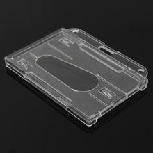 1 шт. двусторонний держатель для карт прозрачный горизонтальный держатель для удостоверения личности чехол для карт легкий доступ большой палец Нотч жесткий пластик