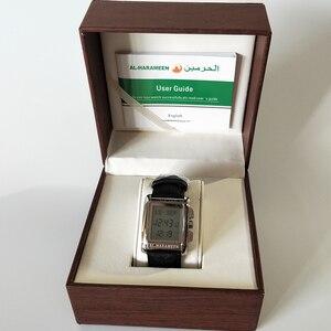 Image 5 - Azan Watch for All Muslim 100% Original Islamic Muslim wristwatch with Leather box Mosque Prayer Time Clock 6208 Silver
