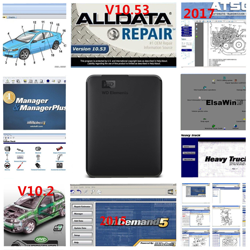 2019 alldata software Alldata10.53 mitchell ondemand 2015 software  Vivid workshop  Elsa Win 6.0 atsg 49 in 1TB HDD USB 3.0-in Software from Automobiles & Motorcycles on