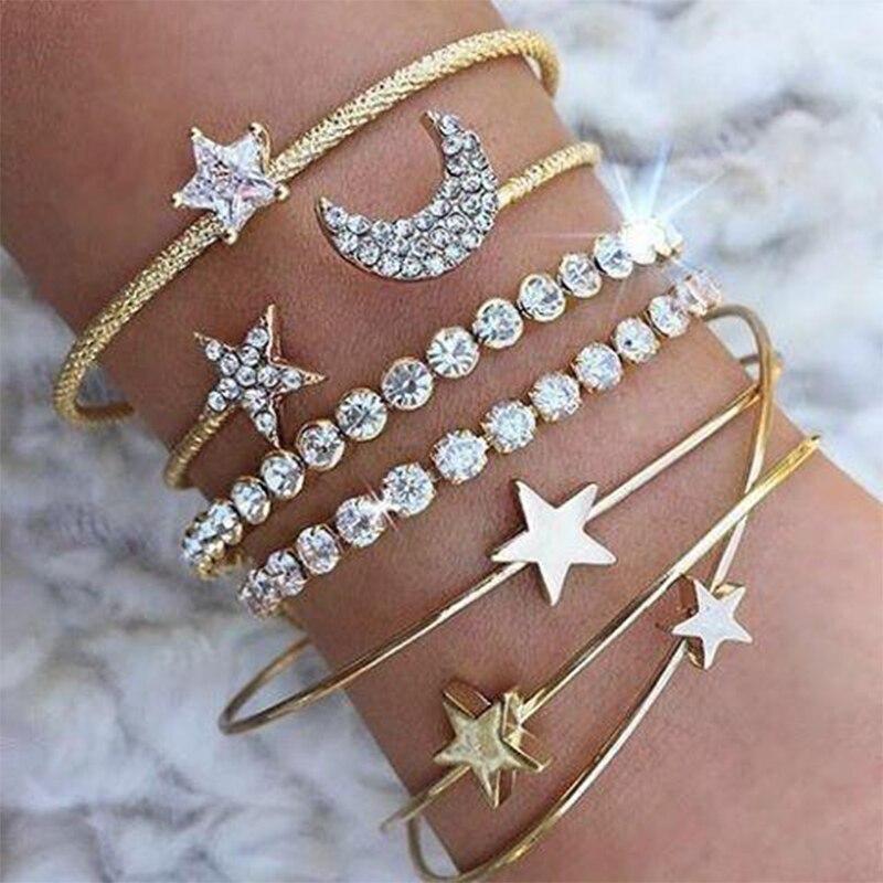 Gold Sliver Star Moon Heart Open Cuff Bracelets Bangles for Women Rhinestone Crystal Wrist Adjustable Elastic Bracelet Set New