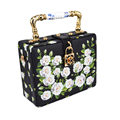 Fashion Black Printing Flower Box Women Handbag lock Flap Purse pochette original designer floral Lady strap shoulder bags Z820