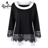 VESTLINDA Plus Size 5XL Two Tone Eyelash Lace Trim Top O Neck Long Sleeve T Shirt
