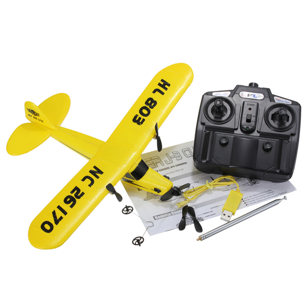 Newest arrival Sea gull EPP HL803 RTF air plane Rc plane PIPER J3 CUB NC26170 RC Airplane WL801 upgrade Fast shipping