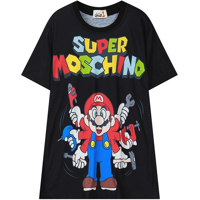 2016 summer women Mario t-shirt graphic cartoon loose desing tee top for woman ladies oversized tshirt black white blue T Shirt