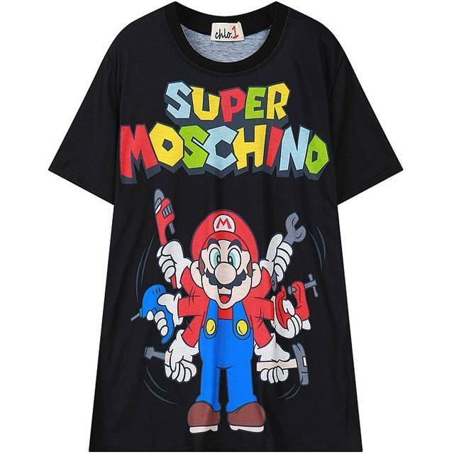 2016 verão mulheres Mario desing gráfico t-shirt dos desenhos animados solta tee top para a mulher das senhoras tshirt preto branco azul de grandes dimensões T camisa
