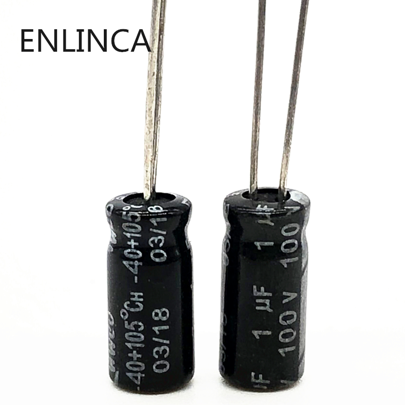 60pcs/lot S53 100v 1UF Aluminum Electrolytic Capacitor Size 5*11 1UF 20%