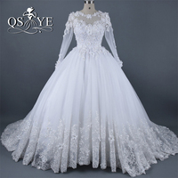 Real Photos 2017 Vintage Arab Ball Gown Wedding Dress With 3D Floral Lace Flowers Long Sleeves