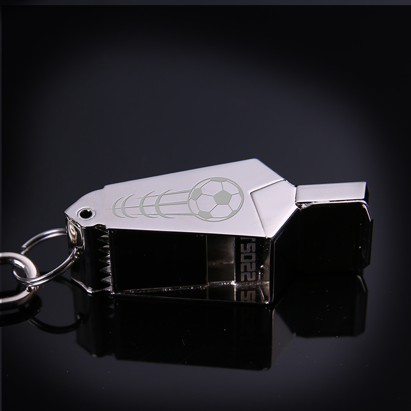 High Quality Gold Sliver football referee whistle Emergency Survival Whistle free laser with lanyard Camping Hiking rugby in Whistle from Sports Entertainment