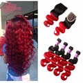 Ombre Brazilian Hair With Closure Jazzwave Hair Products Red Brazilian Hair With Closure Wet And Wavy Bundle Deals With Closure