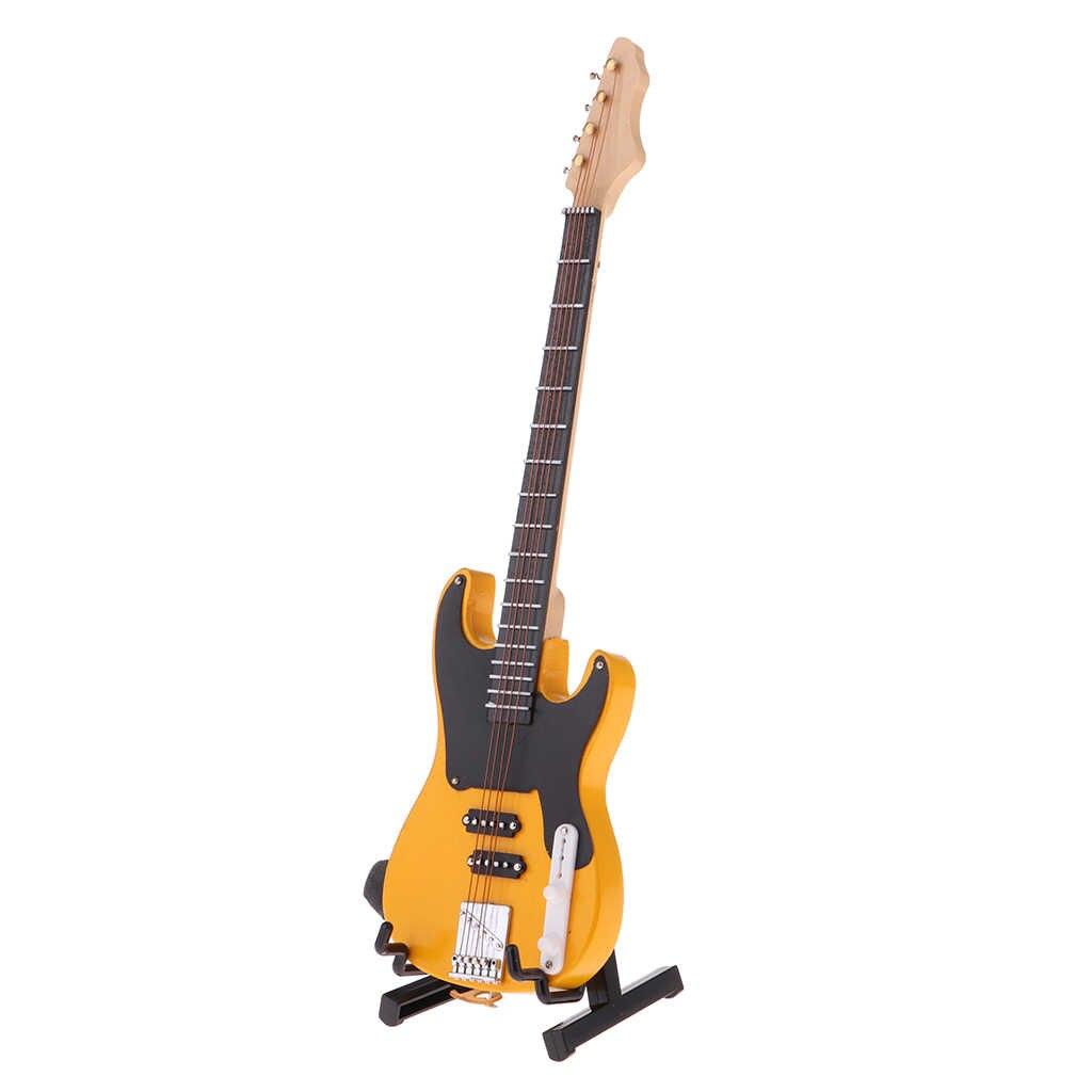 1/6 BJD Holz Elektrische Bass Modell mit Stand und Strap Puppen Haus Miniatur Display Dekor Gelb