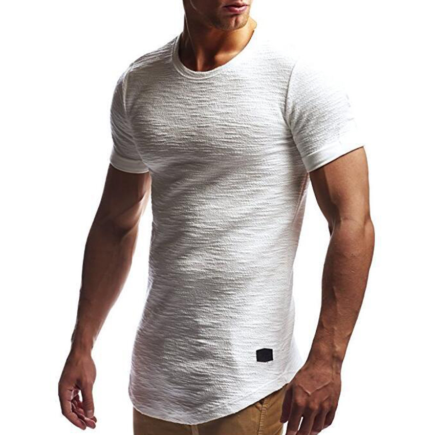 Men's Stylish Longline Short Sleeve   T     Shirt   Male Curve Hem Slub Jacquard hip hip Slim Fit Streetwear Summer tshirt Tops Homme   T
