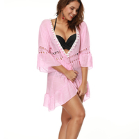 Pink Beach Dress Women Beach Chiffon Bikini Cover Ups Swimming Cover Up For Women Summer Swimwear