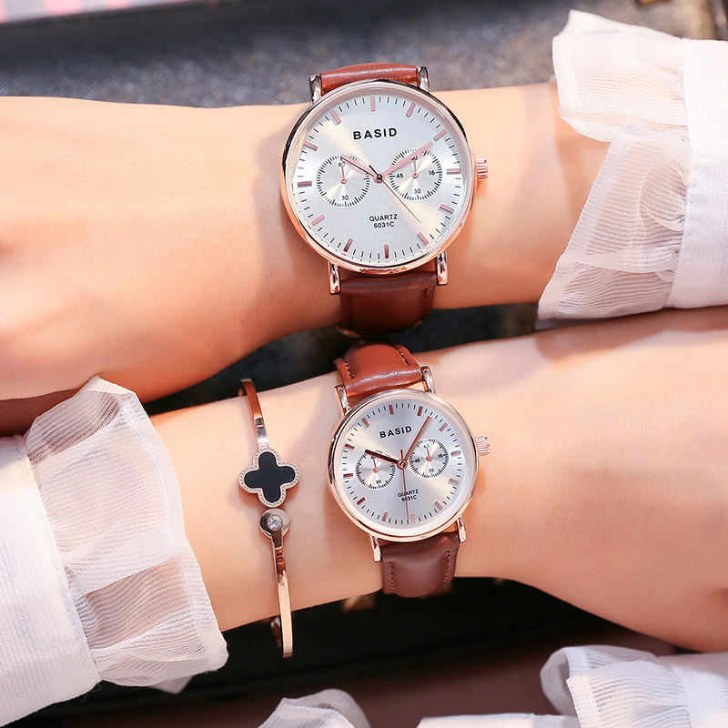 BASID brand Couple Watches for Lovers Pair  Quartz Wrist Watch Fashion Student Waterproof Christmas gift watches relogio stylish couple lovers magnets lowering blood pressure quartz wrist watch golden 2 piece pack