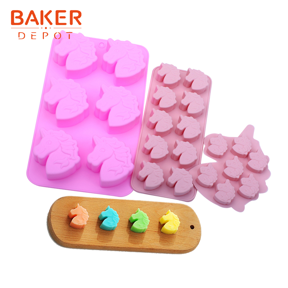 <font><b>BAKER</b></font> <font><b>DEPOT</b></font> silicone cake chocolate mold unicorn bread biscuit pastry baking form jello candy soap ice tray diy cake decoration image