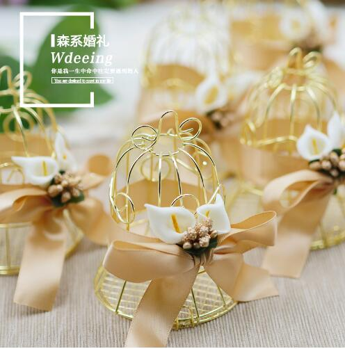 36pcs lot Europe Creative Tin Birdcage Favor Boxes Small Bell Wedding Sweet Box Wholesale