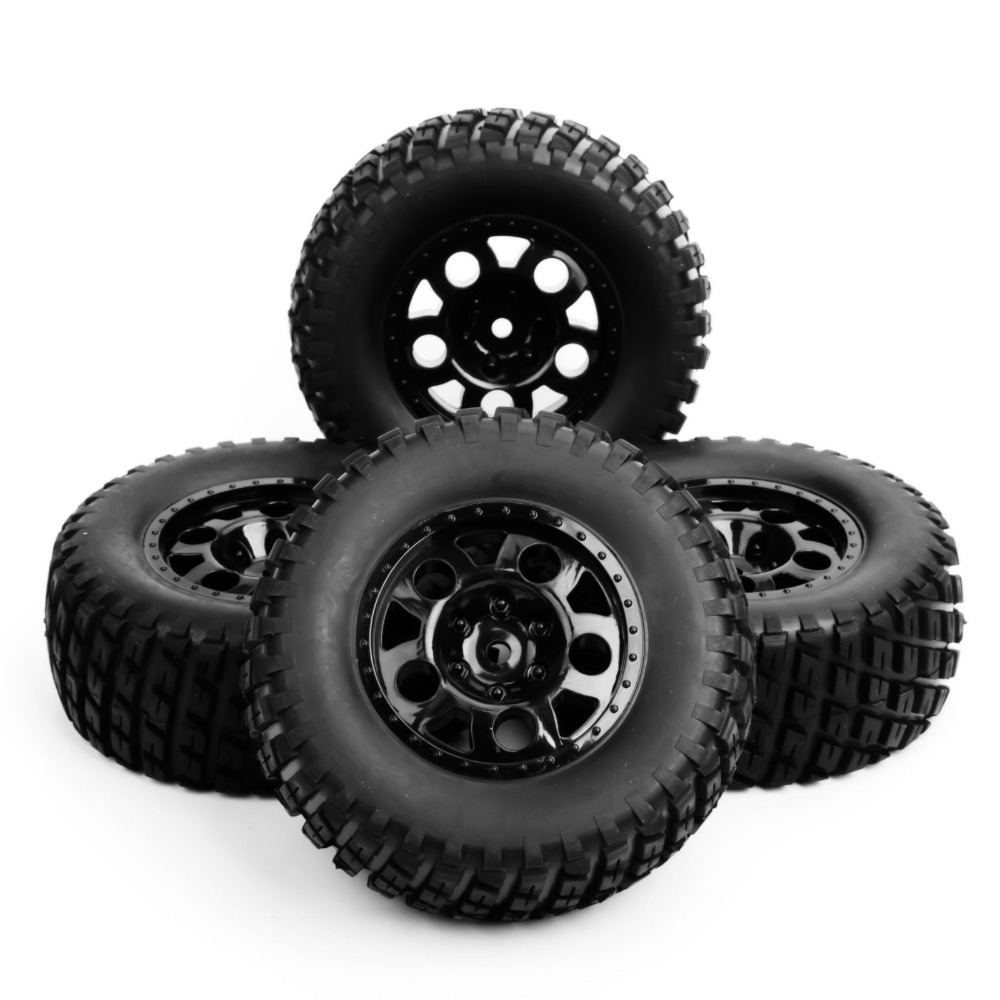 1/10 Scale RC Short Course Truck Tire & Wheel For TRAXXAS SlASH Car Model 4pc Set Accessory