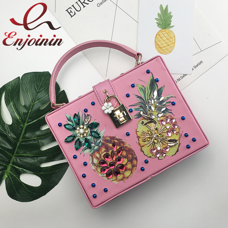 High quality diamond pineapple ladies mini tote fashion box handbags vintage clutch evening bag women shoulder & messenger bag fashion box evening bag oil painting flower black lock clutch bag strap mini tote bag ladies purse trunk white women handbags