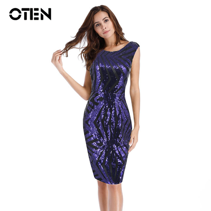 OTEN 2018 Fashion Trending Summer Short Sleeve Back Zipper Purple Party Club Bodycon Special Occasion Dresses Sequin Beads Dress