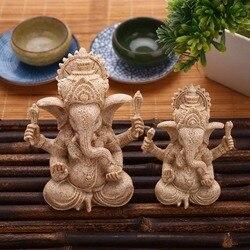 Bege indiano ganesha buda estátua de arenito estatueta ornamentos artesanato artesanal casa ornamentos