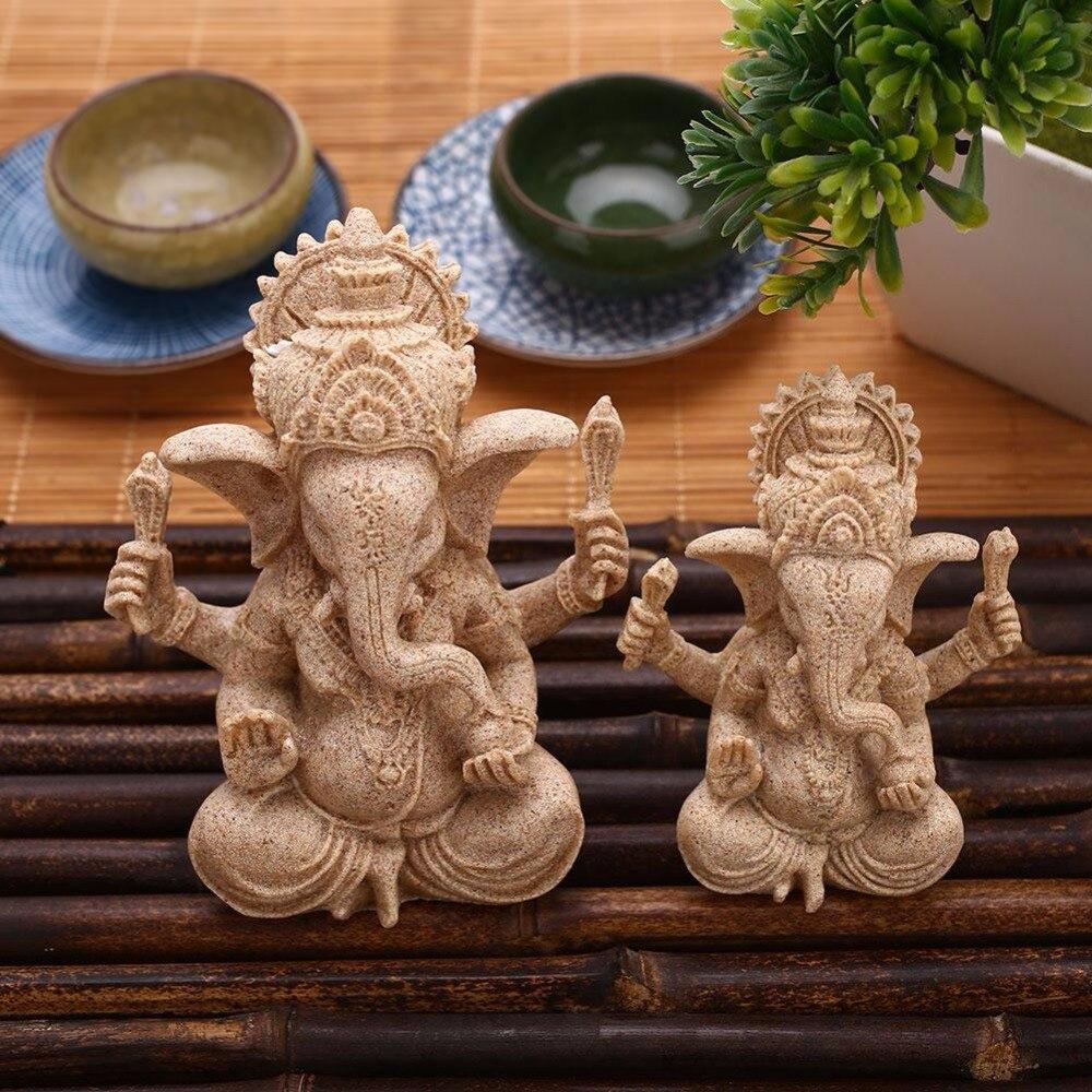 Beige Indian Ganesha Buddha Statue Sandstone Figurine Ornaments Crafts Handmade Home Ornaments