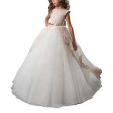 Champagne Cap Sleeves Lace Elegant Wedding Pageant Dress For Girls Bow Sweep train  Ball Gowns Flower Princess