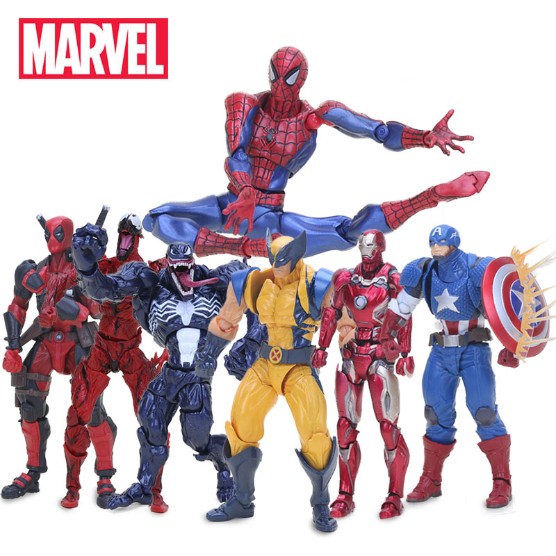 14-16cm Marvel Toys Superhero Figure Deadpool Figma The Amazing Spiderman Venom Gwen Wolverine Action Figures Collection Model