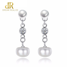 DR Brand 925 Sterling Silver Elegant Semicircle Natural Pure Love Pearl Stud Earrings for Women Fine Jewelry Brincos
