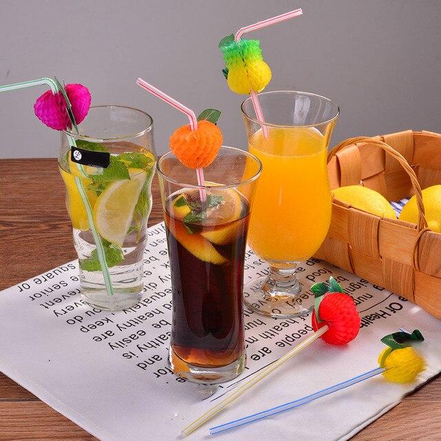 50 sztuk/partia 3D Wielokolorowe Owoce Słomka do picia Słomy Stroną Śliczne Plastikowe Słomy Hawaiian Cocktail Party Dekoracje Party Supplies