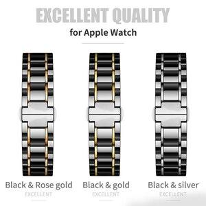 Image 2 - Bracelet watcn en céramique pour montre Apple 4 5 44mm 40mm Bracelet pour iwatch 3 2 38mm 42mm en céramique avec Bracelet en acier inoxydable Bracelet de montre
