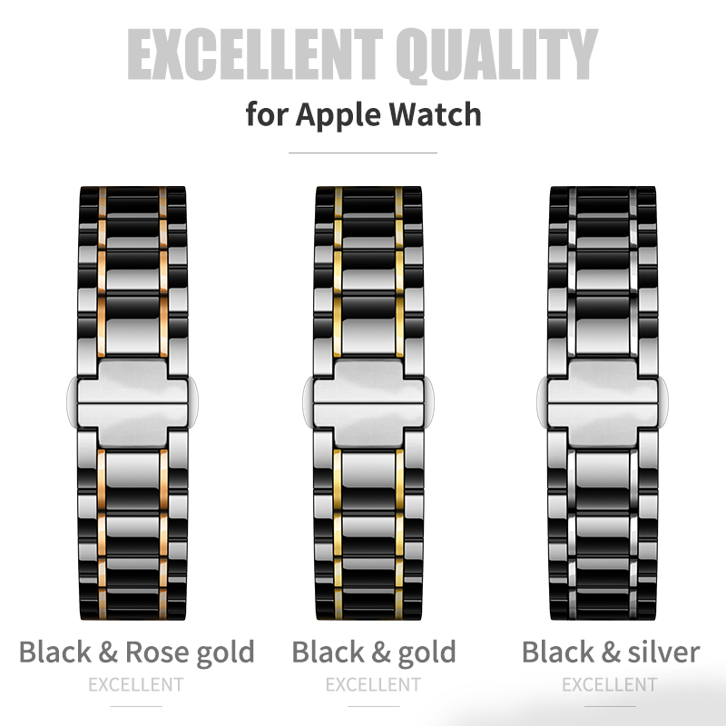 Image 2 - Ceramic watcn band For Apple Watch 4 44mm 40mm Bracelet for iwatch 3 2 1 38mm 42mm Ceramic With Stainless Steel Strap Watchband-in Watchbands from Watches