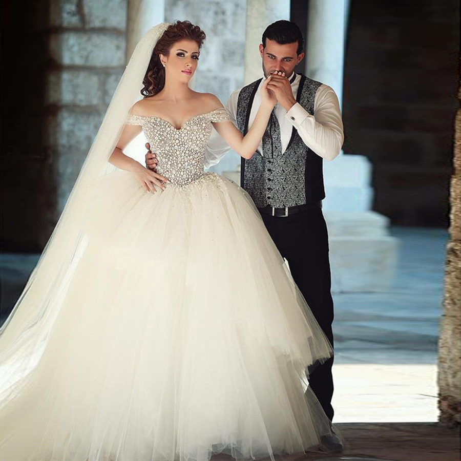 Tulle Wedding Ball Gowns: Saidmhamad Off The Shoulder Bling Bling Ball Gowns Petal